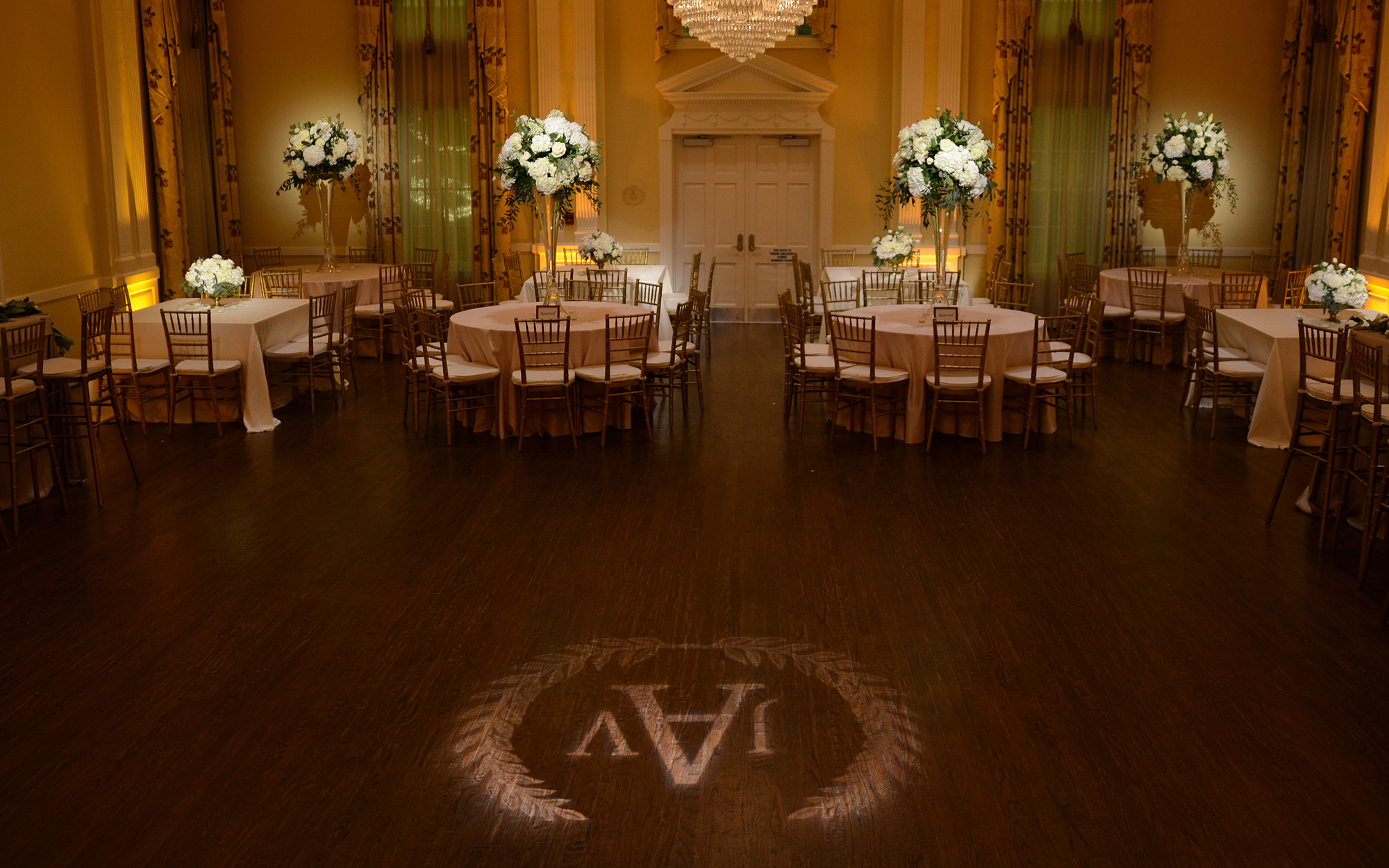 Amber Wash and Gobo Monogram Arlington Hall