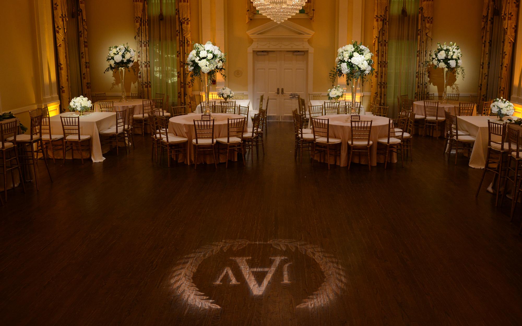Amber Wash and Gobo Monogram Arlington Hall