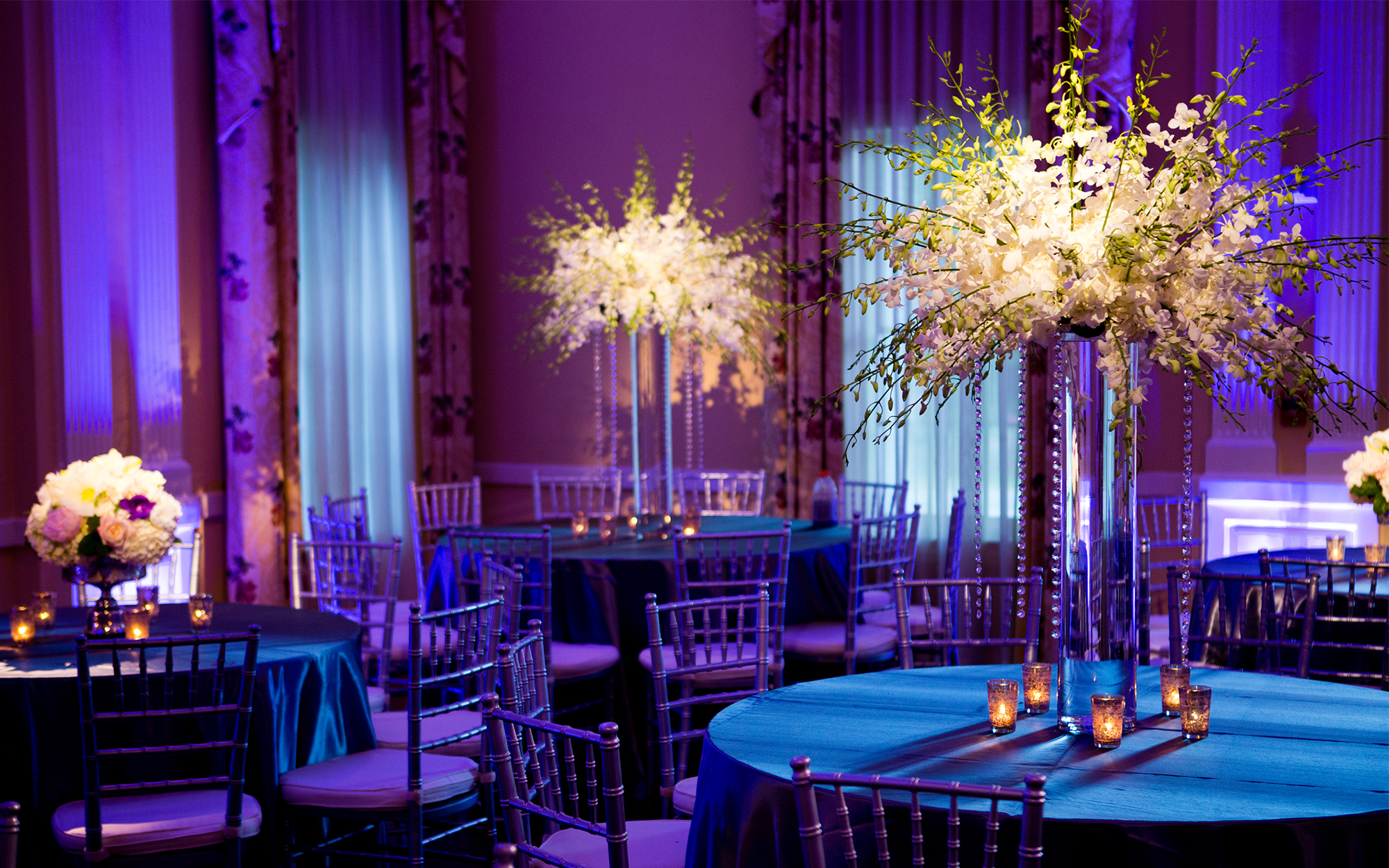 Pinspotting and Uplighting at Arlington Hall