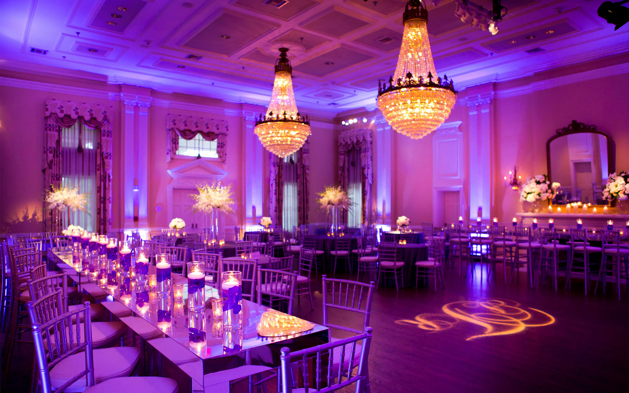 Uplighting, Pinspotting and Monogram at Arlington Hall, Dallas Texas