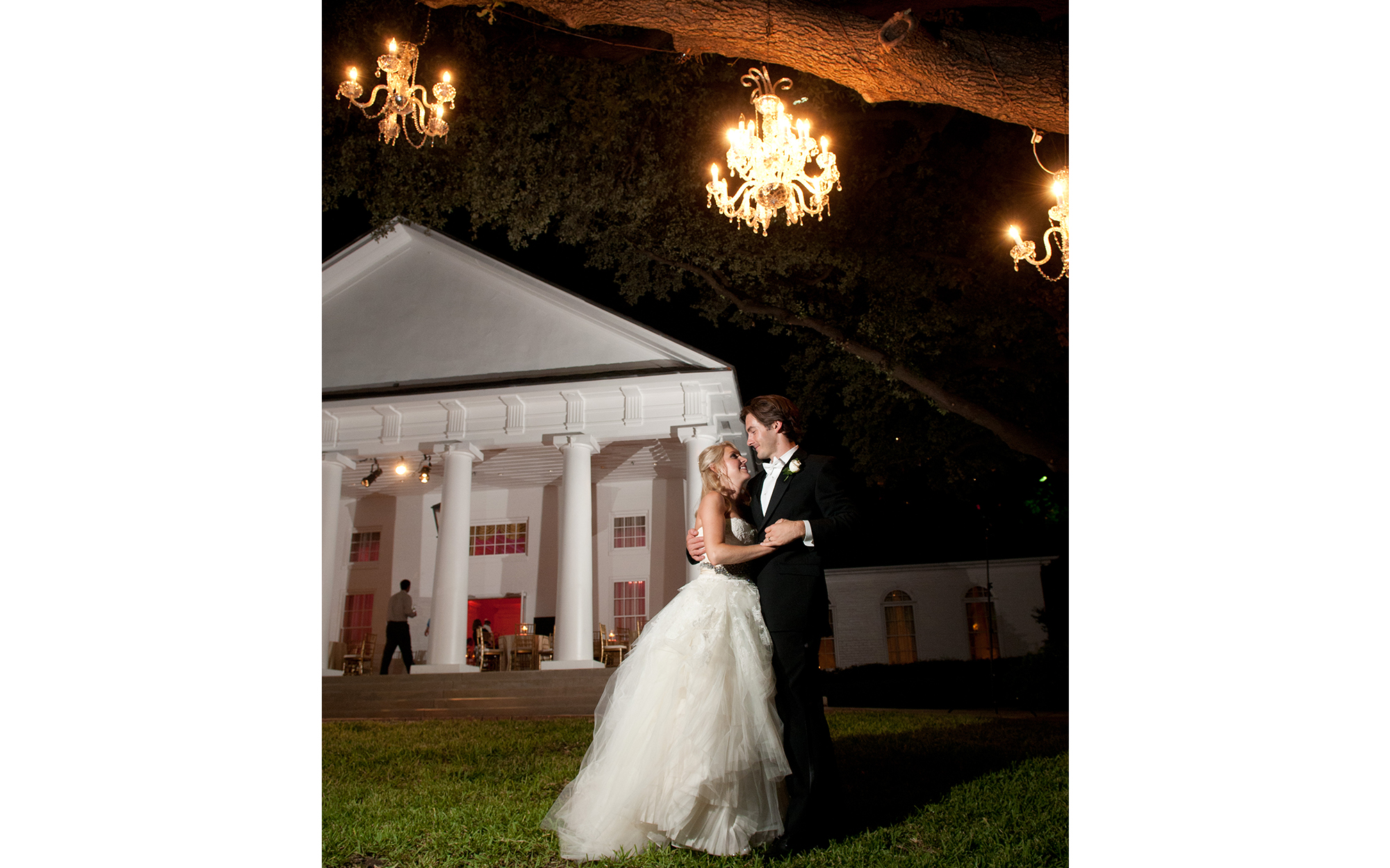 Outdoor Chandeliers at Arlington Hall Dallas Texas